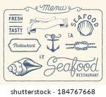 Vintage seafood restaurant collection of decorations, frames and icons