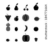 black icon fruit set  ... | Shutterstock .eps vector #184771664