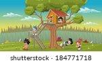 Cute Happy Cartoon Kids Playin...