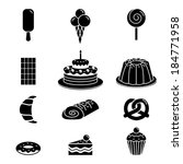black pastry outline icon  ...