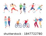 running people disabled ... | Shutterstock .eps vector #1847722780