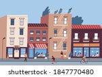 city street with people walking ... | Shutterstock .eps vector #1847770480
