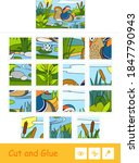 cut and glue vector puzzle... | Shutterstock .eps vector #1847790943