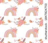 pink floral rainbow pattern... | Shutterstock .eps vector #1847824753