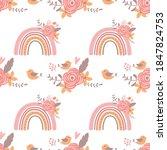 pink floral rainbow pattern... | Shutterstock .eps vector #1847824753