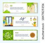 vegan vegetarian green cafe...   Shutterstock .eps vector #1847825356