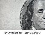 Dollars closeup. Benjamin Franklin's portrait on one hundred dollar bill.  - stock photo