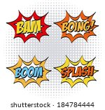pop art design over gray dotted ... | Shutterstock .eps vector #184784444
