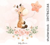 Cute Doodle Giraffe With Floral ...