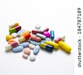 diferent tablets pills capsule... | Shutterstock . vector #184787189