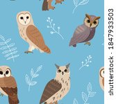 owl pattern. vector seamless... | Shutterstock .eps vector #1847933503