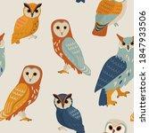 owl pattern. contemporary... | Shutterstock .eps vector #1847933506