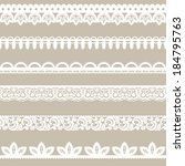 set of horizontal lace borders | Shutterstock .eps vector #184795763