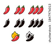 hot chili peppers icon set in... | Shutterstock . vector #1847976013