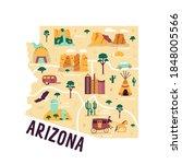 Illustrated Map Of Arizona...