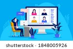 Video meeting vector illustration - Relaxed man at desk having a meeting with colleagues online. Remote teamwork concept.