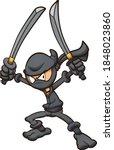 angry cartoon ninja wielding... | Shutterstock .eps vector #1848023860