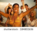 people enjoying a summer beach...   Shutterstock . vector #184802636
