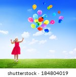 little girl playing with... | Shutterstock . vector #184804019