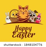 easter greeting card with eggs... | Shutterstock .eps vector #1848104776