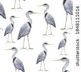 Seamless Pattern Heron Birds On ...