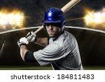 baseball player on a blue... | Shutterstock . vector #184811483
