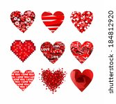 valentines hearts set. | Shutterstock .eps vector #184812920