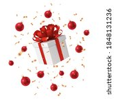 gift box with a red bow  gold...   Shutterstock .eps vector #1848131236