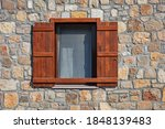 Window With Brown Wooden...