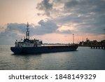 Empty Cargo Ship Near The Pier...