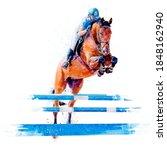 Jockey On Horse. Horse Jumping. ...