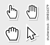 hand cursors icons as labels | Shutterstock .eps vector #184816379