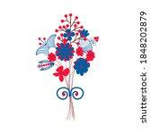 Scandinavian Flower Blue And...
