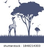 lonely young giraffe for a...   Shutterstock .eps vector #1848214303