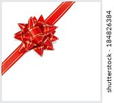 bow of red ribbon with gold... | Shutterstock .eps vector #184826384