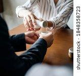 woman pouring japanese sake...   Shutterstock . vector #1848358723