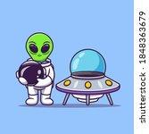 cute astronaut alien holding...   Shutterstock .eps vector #1848363679