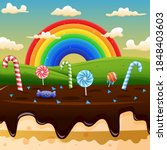 scene with candy land and... | Shutterstock .eps vector #1848403603