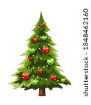 vector christmas tree decorated ... | Shutterstock .eps vector #1848462160