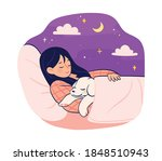 the cute dog and the woman... | Shutterstock .eps vector #1848510943