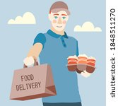 delivery man holding delivery... | Shutterstock .eps vector #1848511270