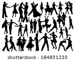dancing people silhouettes | Shutterstock .eps vector #184851233