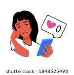a girl looking at a smartphone... | Shutterstock .eps vector #1848525493