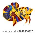 multicolor betta fish vector on ... | Shutterstock .eps vector #1848534226