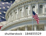 Stock photo washington dc capitol dome detail on american flag background 184855529