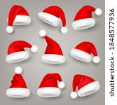 christmas santa claus hats with ... | Shutterstock .eps vector #1848577936