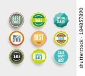 flat vector badges and emblems... | Shutterstock .eps vector #184857890