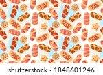 plasters depicting sweet donuts ... | Shutterstock .eps vector #1848601246