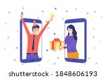 christmas online party. people... | Shutterstock .eps vector #1848606193