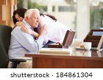 senior father being comforted... | Shutterstock . vector #184861304